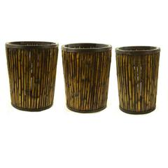 Bamboo Basket, Brown And Yellow, Set Of 3