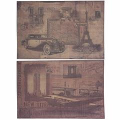 Burlap NY & Paris Wall decor, Beige, Set Of 2