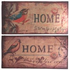 Burlap Wall decor-Bird, Multicolor, Set Of 2