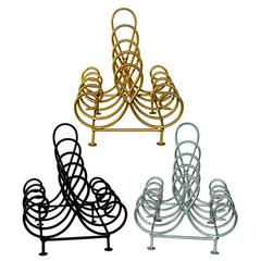 Metal 4Tier Iron Place Plate Holder, Black, Silver And Gold, Assortment Of 3