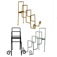 Metal 4Tier Iron Place Plate Stand, Black, Silver And Gold, Assortment Of 3