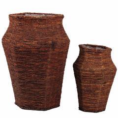 Set Of 2 Stylish Pot Shaped Baskets, Brown