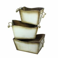 3 Piece Wooden Planter With Handle, Brown And White