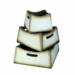 Wooden Planter With Cutout Handle, Brown And White, Set Of 3