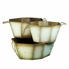 Distressed Wooden Planter, Brown And White, Set Of 3