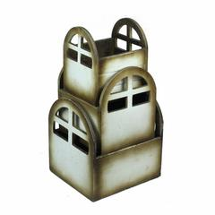 3 Piece Wooden Planter, White And Brown