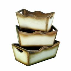 Wooden Planter, Brown And White, Set Of 3