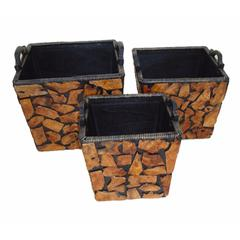 Set Of Three Wooden Planter, Brown And Black