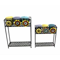 Set Of Two Vibrant Metal Planter, Multicolor