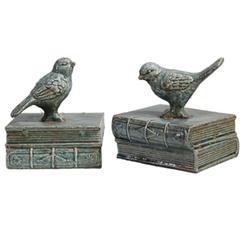 Ceramic Bird Bookends, set of 2,Gray