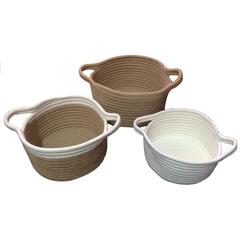 Jute And cotton baskets, Set of 3, White And Brown