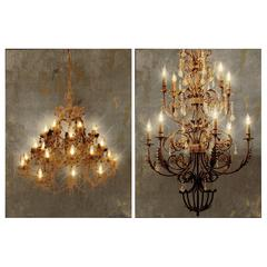 Grand Chandelier Led Canvas Wall Prints , Set of 2, Brown