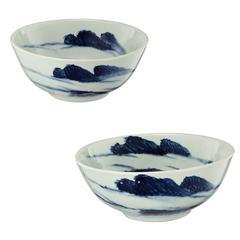 Ceramic Bowls, Blue And White, Set of 2