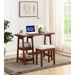 Wooden Writing Desk With 2 Side Shelves And Stool Cherry Brown