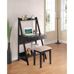 Wooden writing Desk with Stool Set In Black