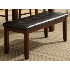 Wood based Leather Tufted Bench In Dark Brown