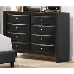 Classic Rubber Wood Dresser With 8 Drawers Black