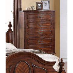 Modish Pine Wood Chest With 5 Drawers, Brown