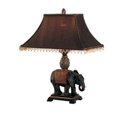 24 Inch Elephant Base Polyresin Table Lamp Set Of 2 Brown