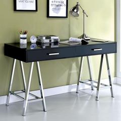 Two Drawer Contemporary Computer Desk With Angled Legs, Black