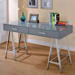 Two Drawer Contemporary Computer Desk With Angled Legs, Gray