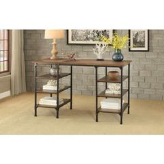 Counter Height Writing Desk With Wooden Top & Shelves, Brown & Black