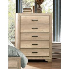 Natural Tone Wooden Chest With 5 Drawers In Brown