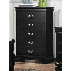 5 Drawers Wooden Chest With Silver Pulls Black