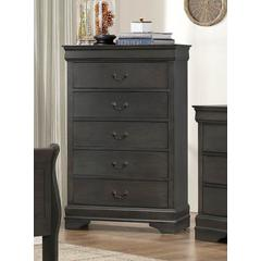 5 Drawers Chest In Wood Dark Gray