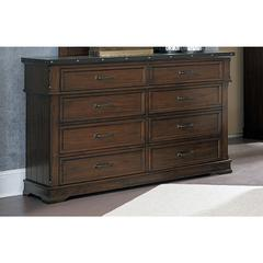 Wooden Double Drawer Dresser With Rivet Banding, Burnished Brown