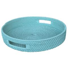Handcrafted Rattan Lombok Coast Tray , Blue