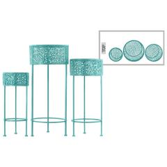 Pierced Round Metal Plant Stand With 3 Legs, Set Of 3, Blue