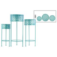 Round Shaped Metal Plant Stand With 3 Legs, Set Of 3, Blue