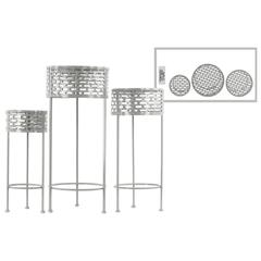 Round Shaped Metal Plant Stand With 3 Legs, Set Of 3, Gray