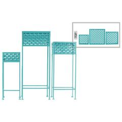 Square Shaped Metal Plant Stand With Cutout Pattern, Set Of 3, Blue
