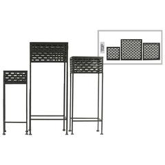 Square Shaped Metal Plant Stand With Cutout Pattern, Set Of 3, Black