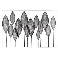 Metal Veined Leaves Wall Decor in Landscape Orientation, Black