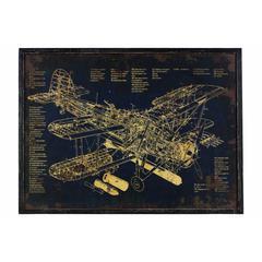 """Wooden Rectangular Gicl�e Print of """"Aircraft Blueprint"""" Wall Art, Black"""