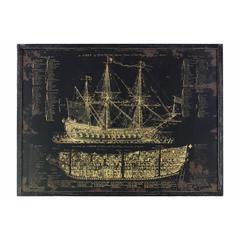 """Wooden Rectangular Gicl�e Print of """"Galleon Blueprint"""" Wall Art, Black"""