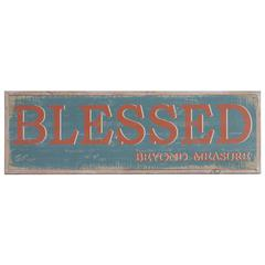 """Wooden Rectangular Wall Art with """"Blessed Beyond Measure"""" Writing, Multicolor"""