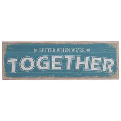 """Wooden Rectangular Wall Art with """"Better When We're Together"""" Writing, Multicolor"""