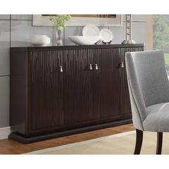 Solid Textured Wooden Server With Wine Rack & Buffet Storage, Deep Espresso Brown