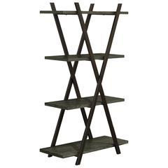 4 Tier Wooden Shelf In Metal Frame , Coated Black