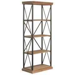 5 Tier Tall Wooden Shelf In Metal Frame , Tan Brown