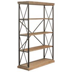 5 Tier Wide Wooden Shelf In  Metal Frame , Tan Brown