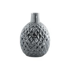 Ceramic Belied Vase With Engraved Lattice Diamond Pattern, Chrome Silver