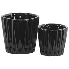 Round Ceramic Vase With Ribbed Pattern, Set of 2, Black