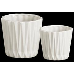 Round Ceramic Vase With Ribbed Pattern, Set of 2, White