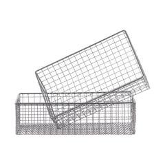 Rectangular Metal Wire Basket With Mesh Design, Set Of 2, Gray