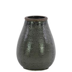 Ceramic Bellied Vase With Dimpled Pattern, Small, Gray